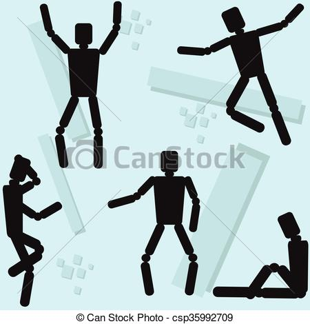 Vector Clipart of Human Body Mannequin Wooden Dummy Doll Different.