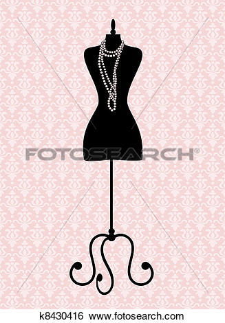 Clip Art of Vintage Mannequin k8430416.