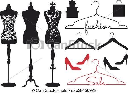 Vector Clip Art of vintage fashion mannequins, vector.