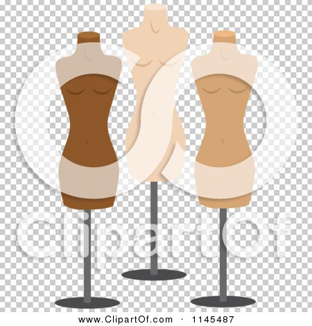 Clipart of Three Fashion Mannequins.