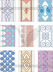 Set of ornamental patterns in mannerism style.