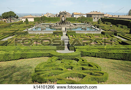 Stock Images of Mannerist garden of Villa Lante in Bagnaia.