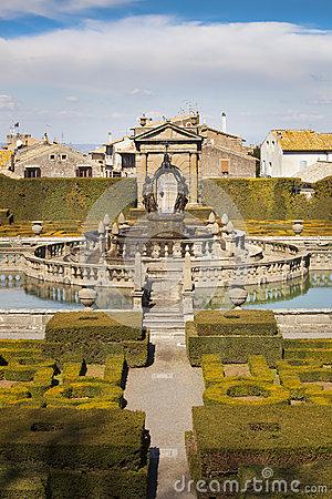 Square Fountain And Mannerist Garden. Lazio, Italy. Stock Photo.