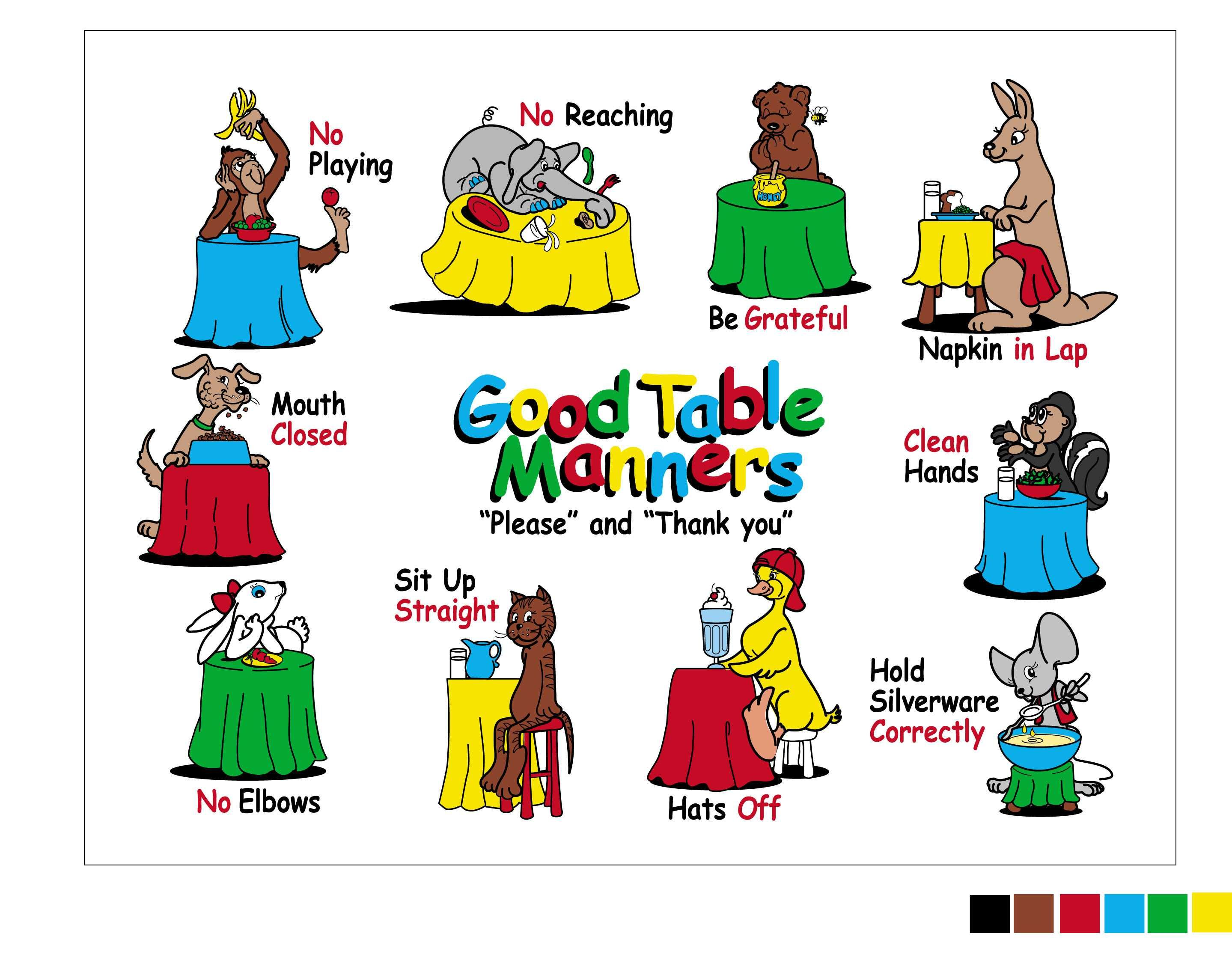 The Good Table Manners Placemat for teaching 3.