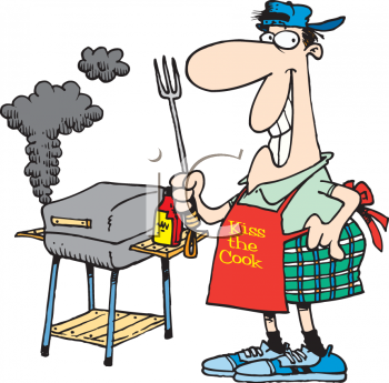 Cartoon Clipart Picture of a Man Barbqueing With a Big Smile.