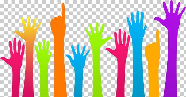 Ilustración en varios colores de manos, educación.