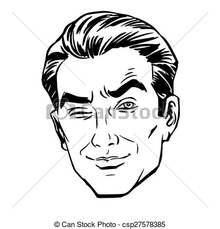 Vector of Sketch the man squinted, staring with one eye. Love.