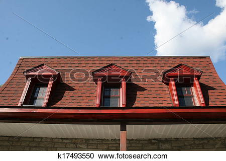Stock Photography of Old red mansard roof k17493550.