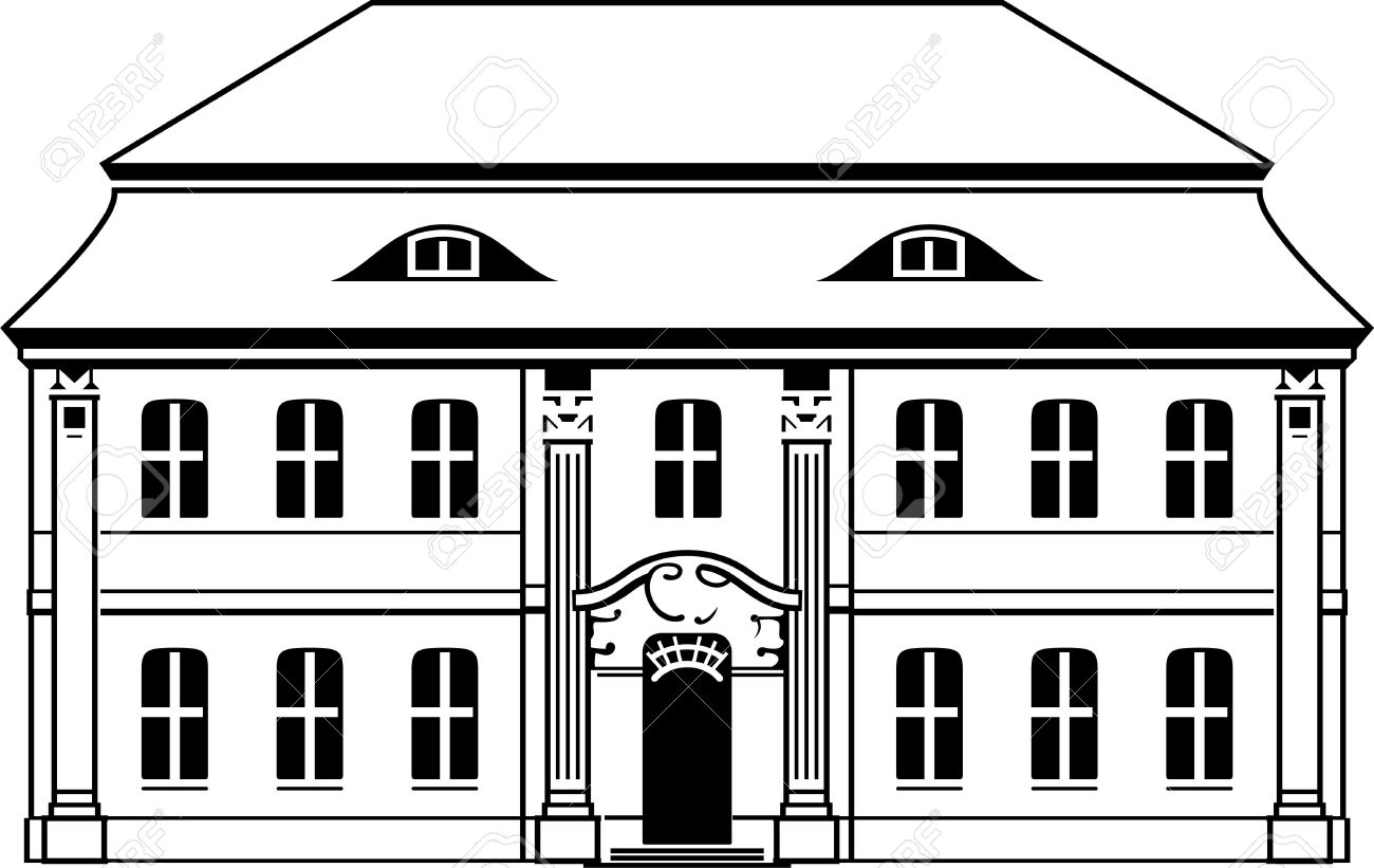 Two Storey House With Mansard On White Royalty Free Cliparts.
