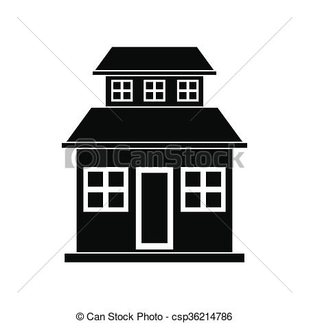 Stock Illustration of Cottage with a mansard black simple icon.