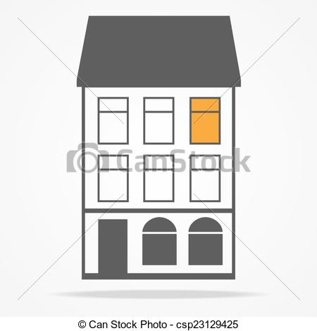 Vector Illustration of two old houses with mansard roofs.