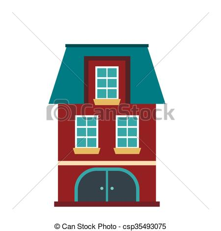 Vectors Illustration of House with a mansard and garage icon in.