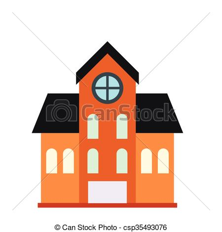 Vectors Illustration of House with a mansard icon in flat style.