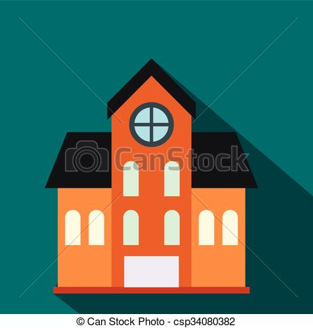 Vector of House with a mansard flat icon on a blue background.