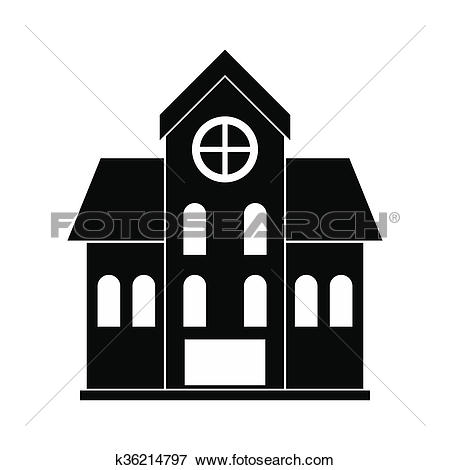 Stock Illustration of House with a mansard black simple icon.
