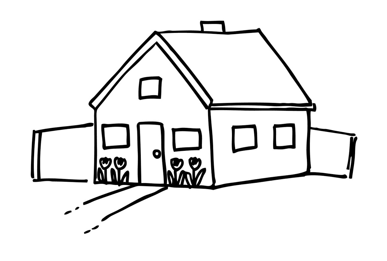 House With Garage Outline Clipart Black And White.