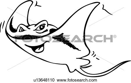 Clipart of Manta Ray u13648110.