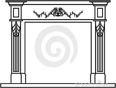 Fireplace mantel clipart.