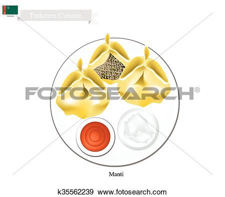 Clip Art of Manti or Turkmen Dumpling Filled with Spiced Meat.
