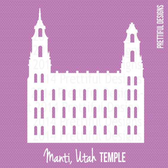 Manti Utah Temple LDS Mormon Clip Art png eps svg Vector.