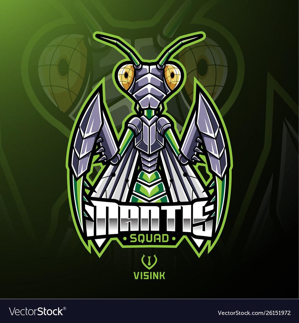 Mantis sport mascot logo design.
