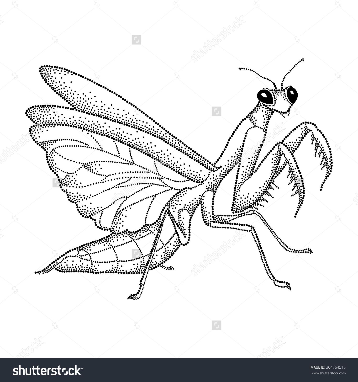 Dotted Black Mantis Religiosa Praying Mantis Stock Vector.
