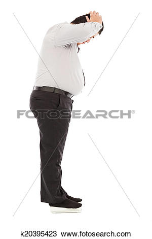 Stock Photo of fat business man too unbelievable his weight to.