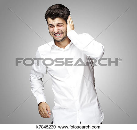 Stock Photography of man too loud gesture k7845230.