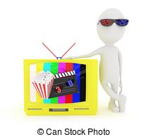 Clipart of 3D Man too close to TV screen.