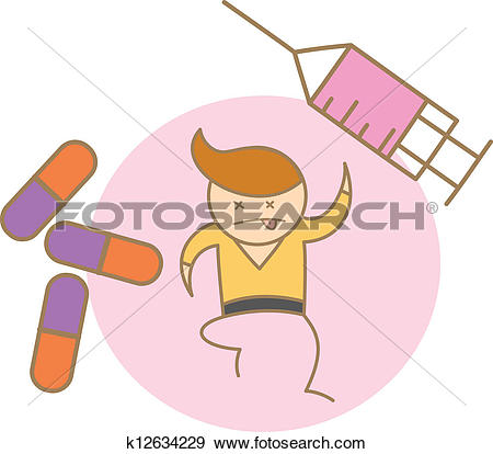 Clip Art of cartoon character of man too much drug k12634229.