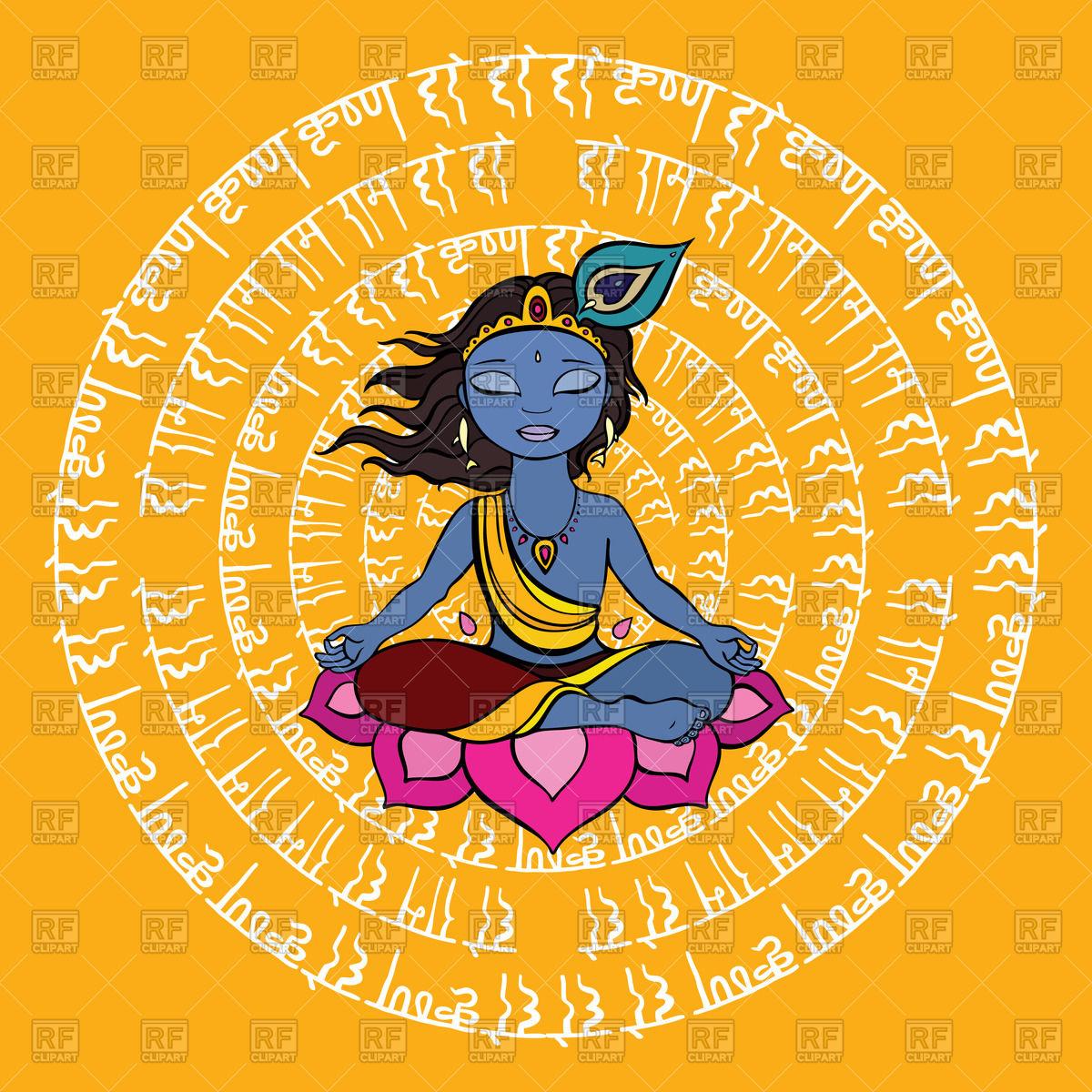 Hindu God Krishna meditates against round mantra Vector Image.