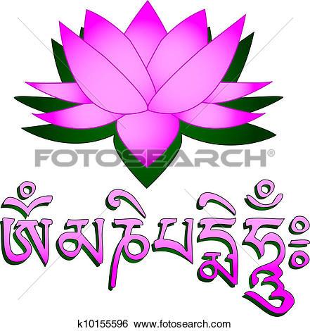 Clip Art of Lotus flower, om symbol and mantra k10155596.