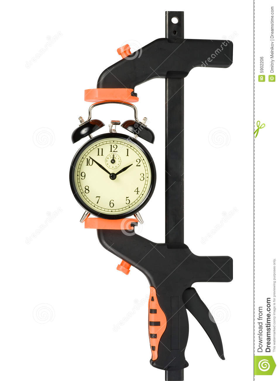 Alarm Clock Clamped In A Manual Clamp Royalty Free Stock Image.