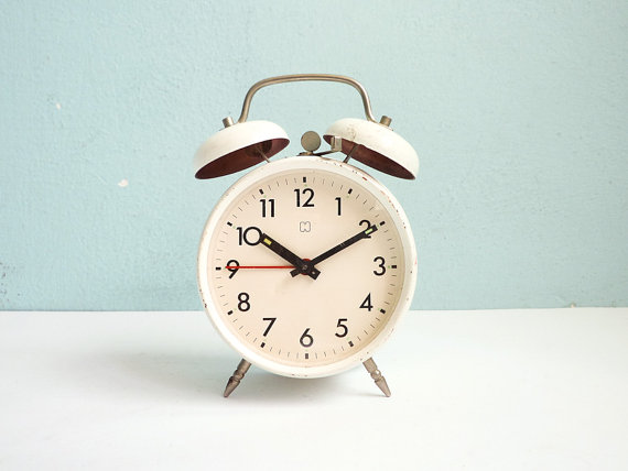 Vintage Manual Wind Up White Alarm Clock Twin Bells by EuroVintage.
