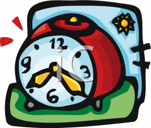 Colorful Cartoon of a Manual Alarm Clock.
