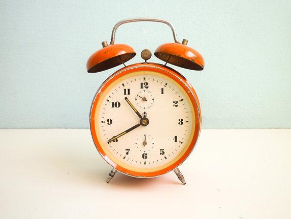 Vintage Orange Alarm Clock twin bells manual wind by EuroVintage.