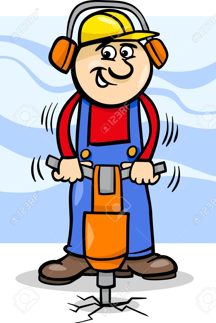Cartoon Illustration Of Man Worker Or Workman With Pneumatic.