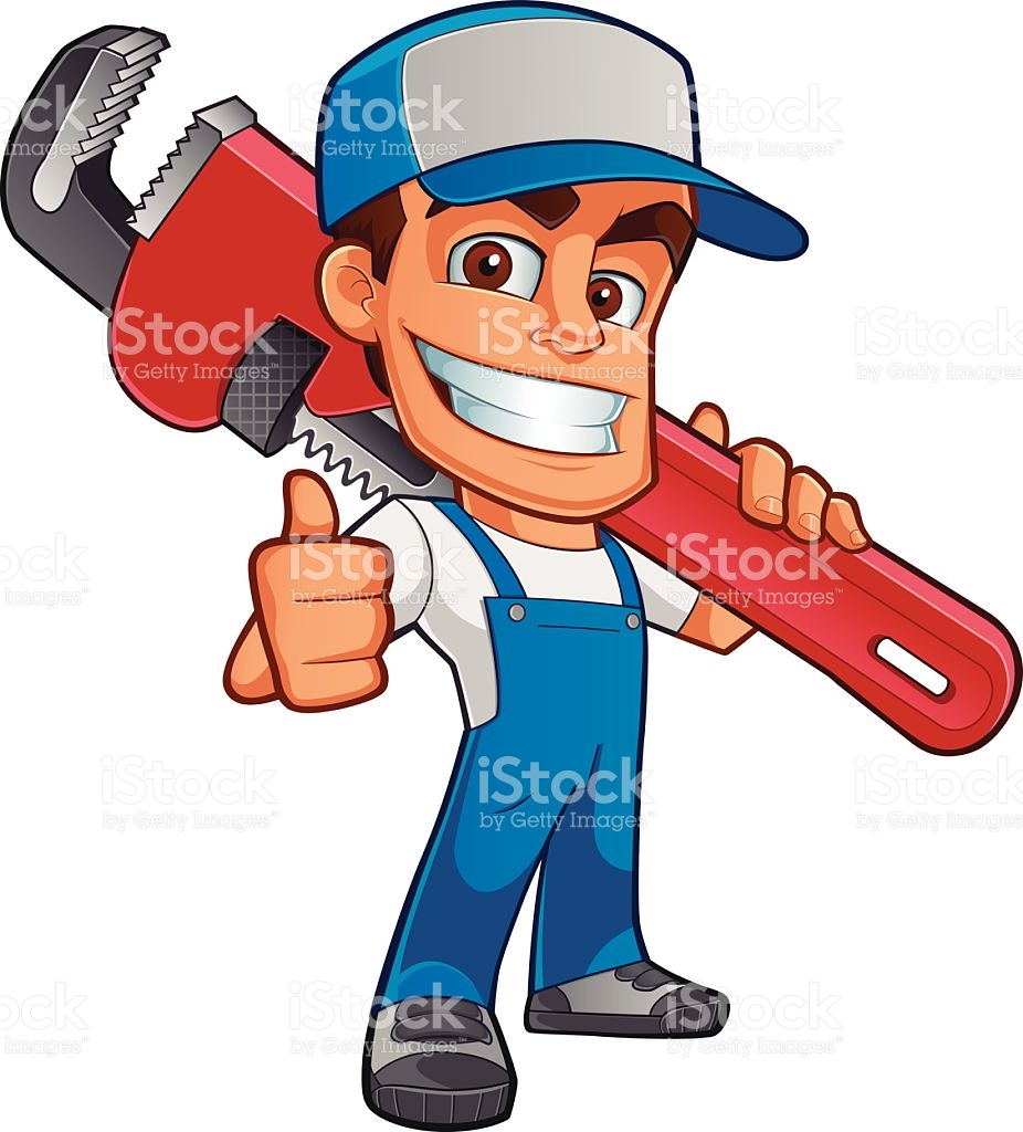 Illustration Of Workman With Oversized Wrench Over Shoulder stock.
