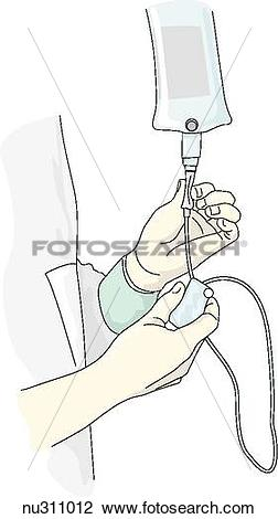 Clip Art of Nurse looks at watch and manually regulates drip rate.
