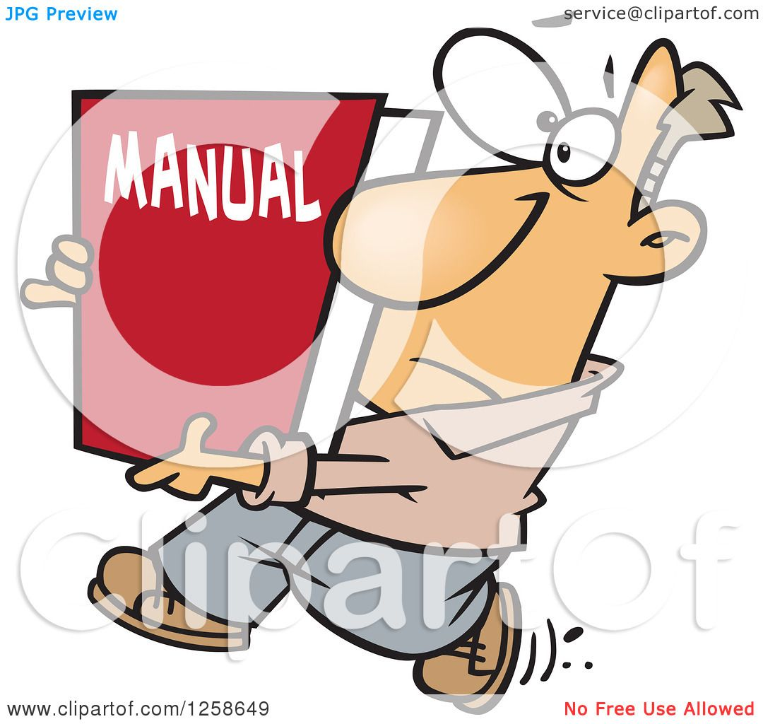 Clipart of a Cartoon Caucasian Man Carrying a Big Manual.
