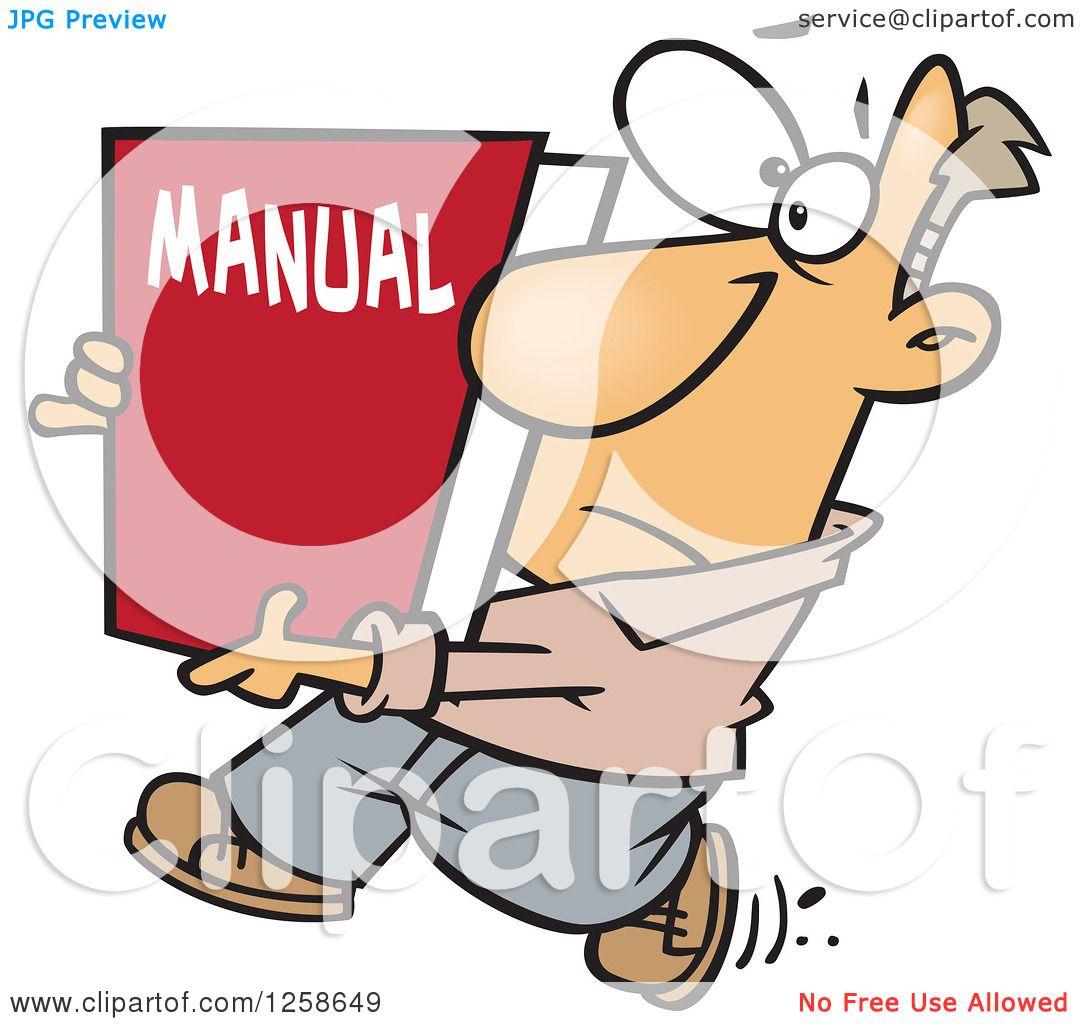 Clipart of a Cartoon Caucasian Man Carrying a Big Manual.