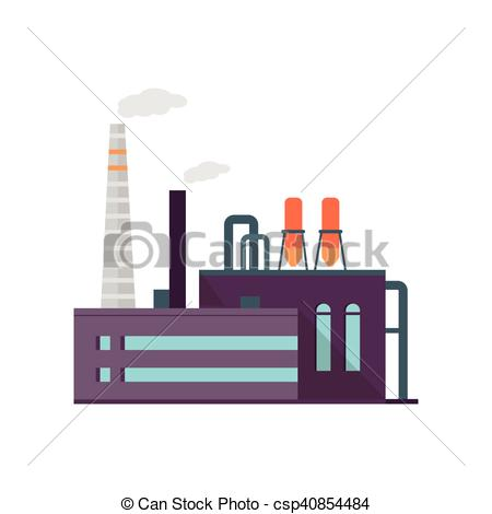 Vector of Industry Manufactory Building Isolated on White.