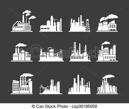 Clipart Vector of Industry manufactory building icons.