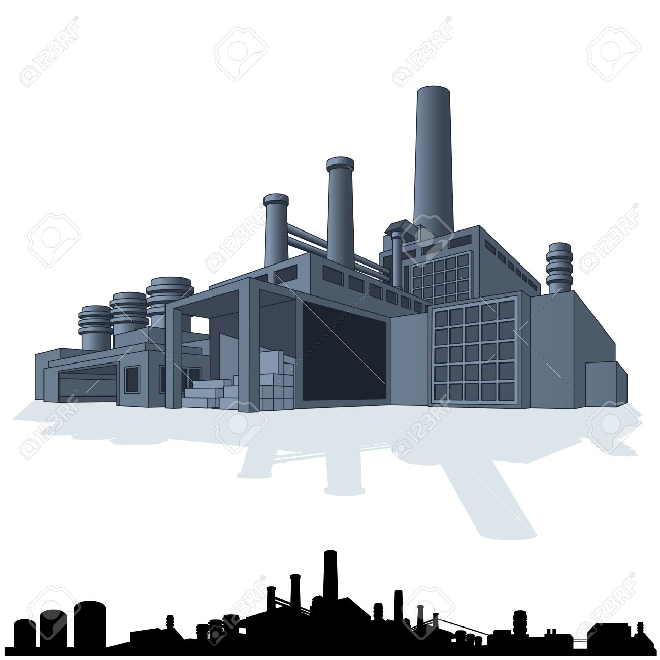 Illustration Of Abstract Large Factory. 3D Vector Icon Royalty.