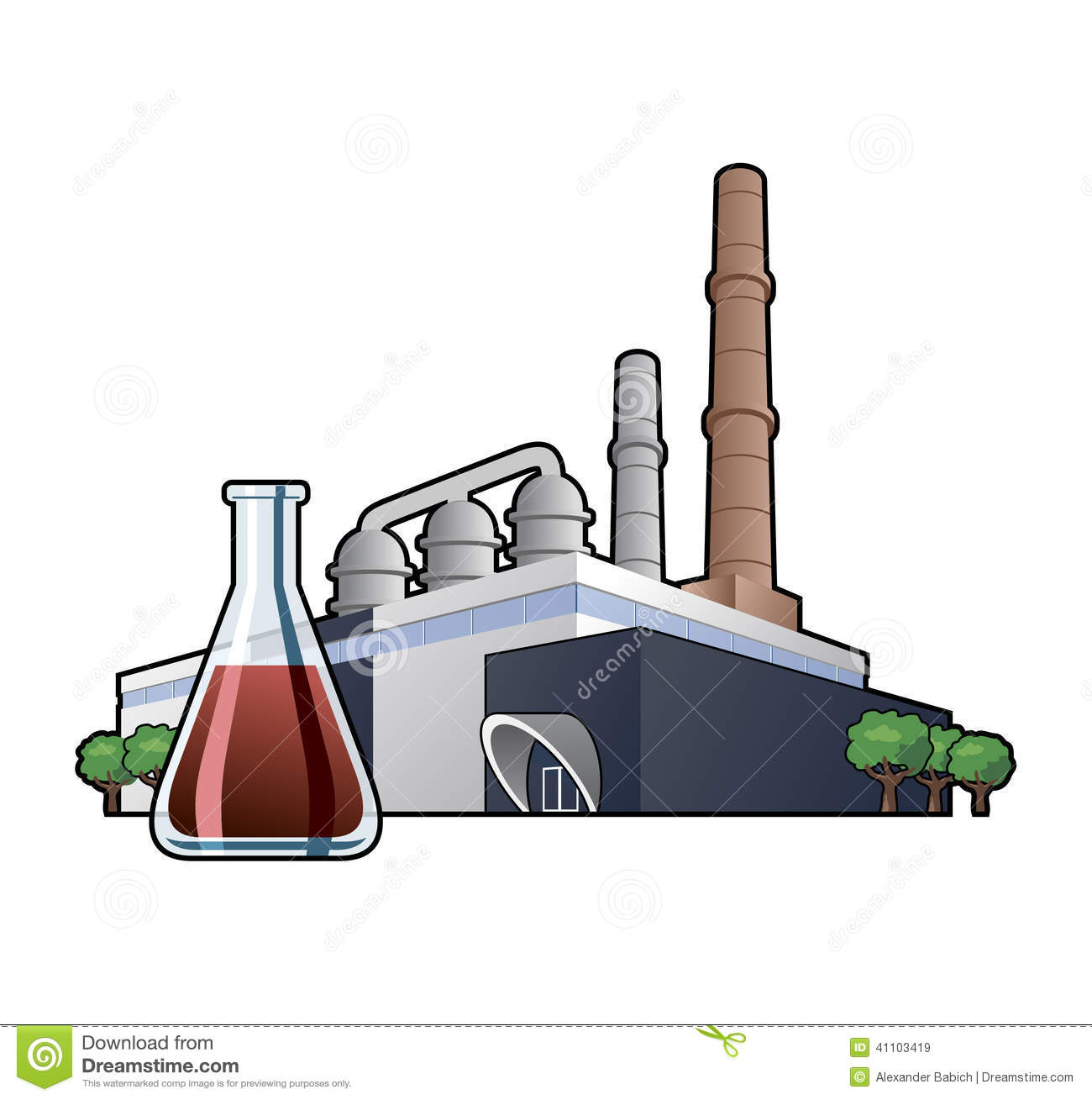 Chemicals Factory Stock Vector.