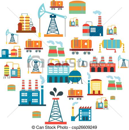EPS Vector of Factory flat industry background with manufactory.
