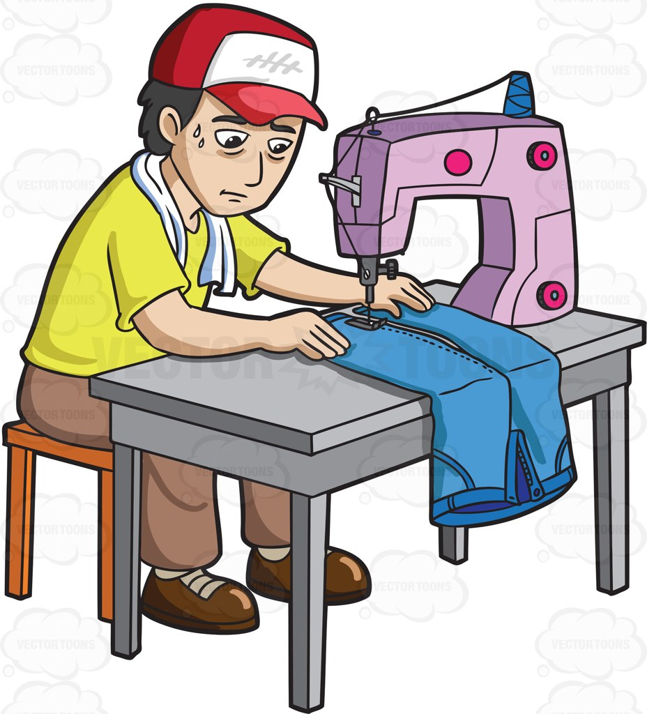 A Factory Worker Sewing A Pair Of Jeans Cartoon Clipart.