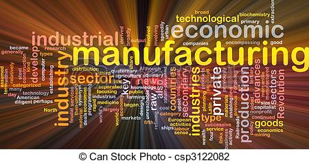 Clip Art of Manufacturing word cloud glowing.