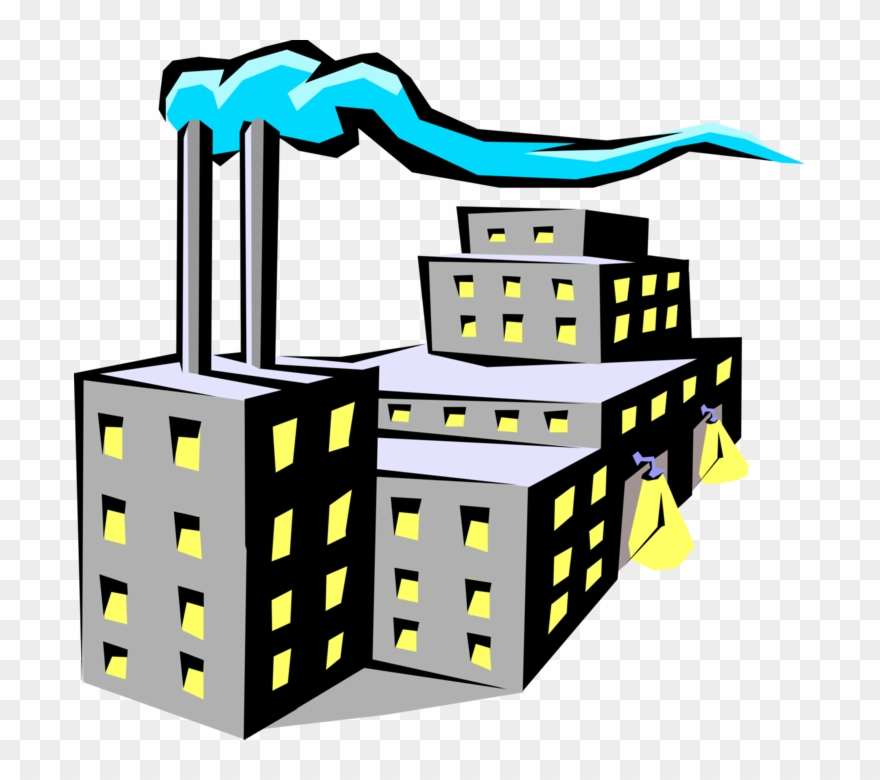 Vector Illustration Of Industrial Manufacturing Factory.