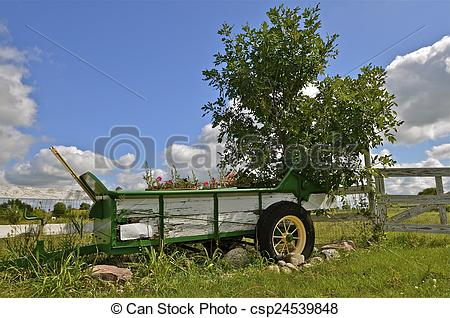 Stock Photo of Manure spreader as flower box.